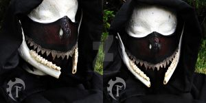 Half demon leather mask by Feral-Workshop