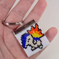 Cyndaquil Beaded Keychain by CarrieBea