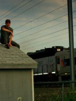 Alex on a rooftop by brokenphoto
