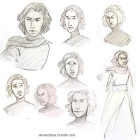 Kylo Ren Sketches by aimeezhou