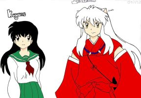 Inuyasha and Kagome: Colored by rinoa36
