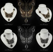 Dark Moth Necklace by Euflonica
