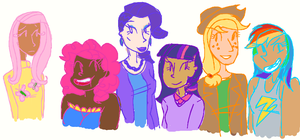 mlp mane 6 as humans by RoseyJudgement