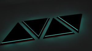 Black/Red 3D Triangles glow teal... by cytherina
