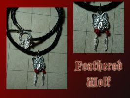 Feathered Wolf Necklace by wilder