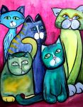 Colorful Cats in Portrait 5 by jenthestrawberry