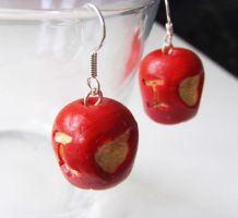 Sherlock IOU Apple Earrings by tyney123