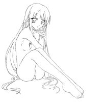 Lineart: Long haired girl by Metamoor27