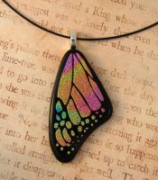 Peach Rainbow Glass Butterfly Wing by FusedElegance