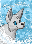 Holiday Wolf greeting card by MF99K