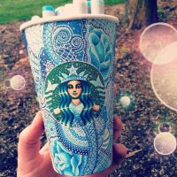 Blue Starbucks Cup Design by CreativeCarrah