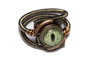 Steampunk Green eye Ring by CatherinetteRings