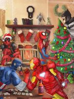 merry christmas - superheroes by Lightning-Stroke