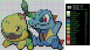 Pokemon Perler Bead Pattern: Turtwig and Totodile by LadyJirachi