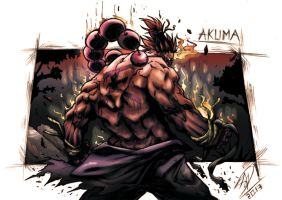 Akuma - The Satsui No Hadou. . .MESSATSU!!!Colour by darnof