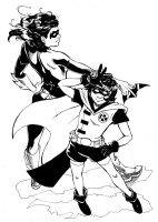 girl robin and lady nightwing by taintedsilence