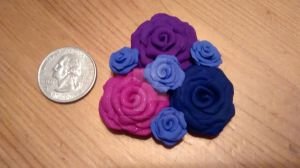 Purple and Raspberry rose cluster magnet by KitschyCustomCrafts
