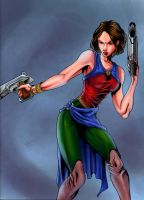 Woman with guns color by ravendark82