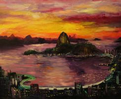 A painting of Rio De Janeiro, Brazil by sunset by DinosaurCat