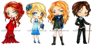 - COMMISSION - Chibi set 7 - by ooneithoo