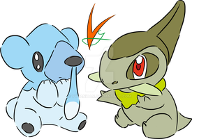 Axew and Cubchoo by Vyranitar