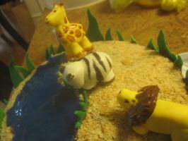 Savannah Animals cake (close up 2) by recycledrapunzel