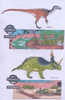Dinosaur Zoo: Coelurus and Styracosaurus by Dontknowwhattodraw94