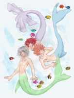 Riku, Sora, and Kairi Mermaids by doodlekitten