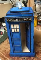 16in Tall Wooden Tardis by Athey