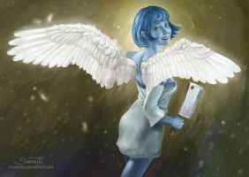 Flying Blue Girl - Commission by Maximko