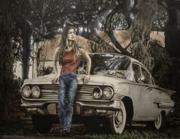 Airbrush Painting - Jeepers Creepers (Gina Philips by JanneFlinck