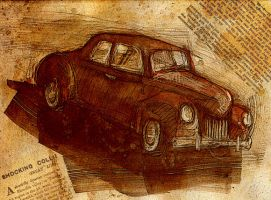 sketch of a old car by akenoomokoto