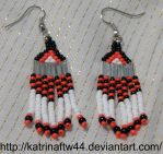 White, Red and Black Brick Stitch Earrings by KatrinaFTW44