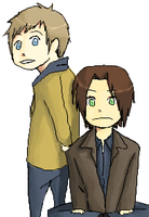 adam and sam winchester by kiptits
