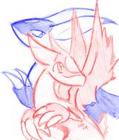 Latias and Latios Sketch by raizy