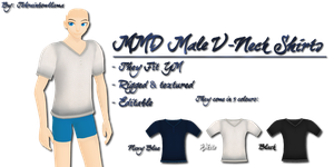 MMD Male V-Neck Shirts by Tehrainbowllama