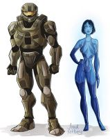 Chief and Cortana by aerettberg