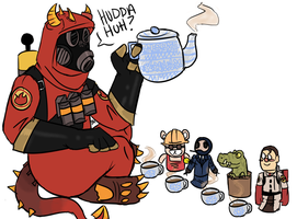 Pyro's tea party by BritishMedic