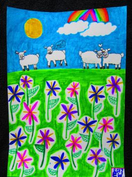 613. Happy Sheep In A Camas Meadow by fr33d0m0f3xpr3ss10n