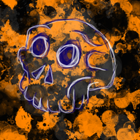 White and blue Halloween Skull by Poorartman