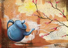 Blue Teapot w Blooming Dogwood by bryancollins
