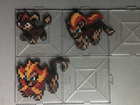 #667-#668 Litleo and Pyroar Perlers by TehMorrison