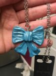 Polymer clay blue bow necklace pendant by kellykim1982