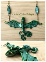 Enchanted Forest Dragon necklace - polymer clay by RegnumLaternis