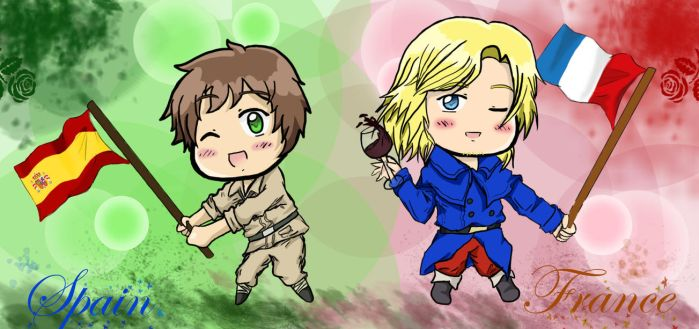 Chibi Spain and France by MisoKrattz