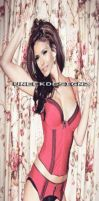 nina dobrev - red and black lingerie morph by yotoots