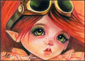 Aceo steampunk melancholia by Katerina-Art