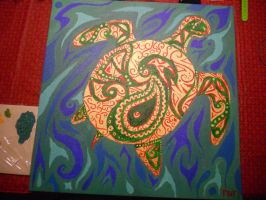 Finished Sea Turtle Painting by mikaylamettler