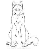 Free wolf lineart - Front view by CunningFox