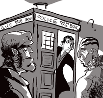 Ninth Doctor, Hellboy, and Abe by infiniteviking